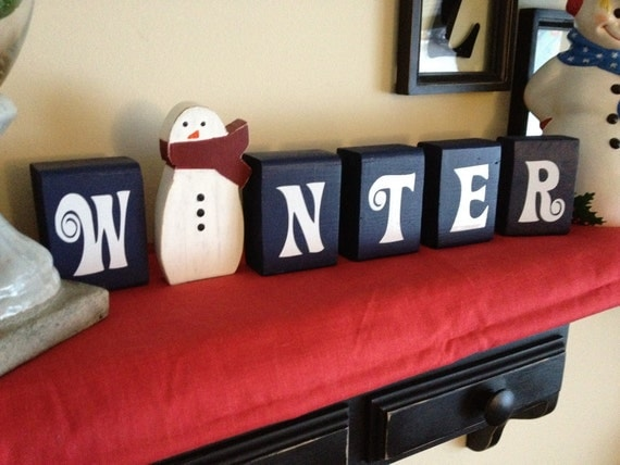 Winter Blocks with snowman Christmas decoration blue Christmas with wooden snowman cut out frosty the snowman