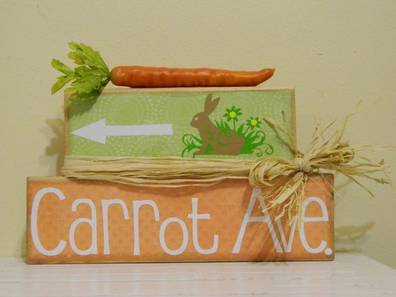Easter Decoration wooden blocks with carrot home decor vinyl carrot ave bunny rabbit spring orange and green