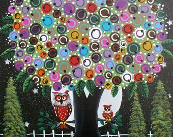 Needlepoint Canvas 14 or 18 count, Night Owls, By Lori Everett