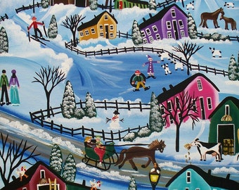 Needlepoint Canvas 14 or 18 count, First Day Of Snow, By Lori Everett