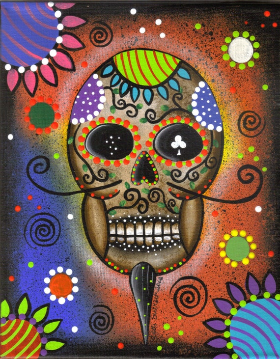 Needlepoint Canvas 14 or 18 count, Day Of The Dead 4, By Lori Everett