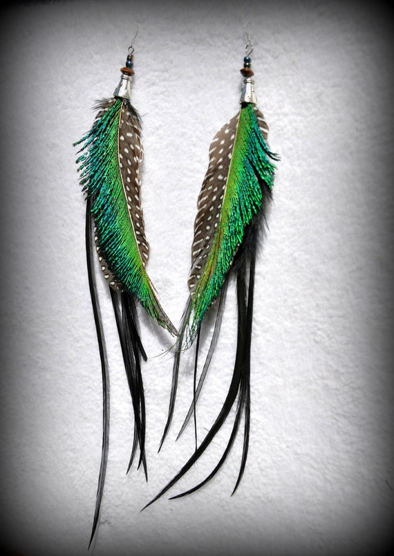 Peacock sword and rooster long feather earrings
