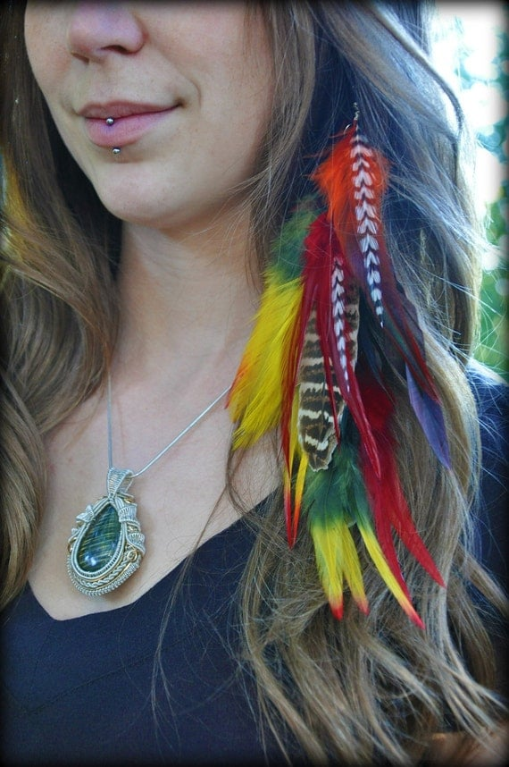 Long Feather Hair Clip - Sunset colors, rooster, grizzly rooster, and pheasant feathers