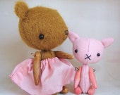 Miniature Artist Teddy Bear and Kitty - Handmade Mohair - Ginger and Strawberry