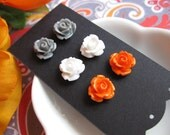 Sweet Autumn Rosette Cabochon Earrings Set-Custom Colors OR Grey, White, and Pumpkin Oragne-Pierced or Clip-ons-Neon-Pastel-Fall Fashion