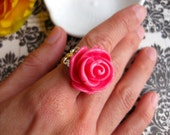 Icing Rose Cabochon Cocktail Ring-Bubblegum Pink or Custom Color Flower-Adjustable Silver, Bronze, Shiny Gold, Gunmetal Filigree Band-Autumn