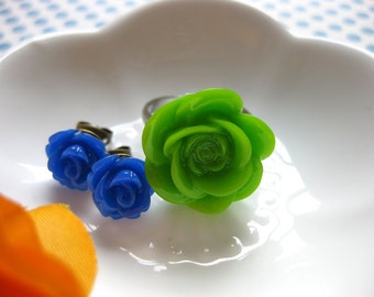 Sweet Blossom Cabochon Rose Ring & Earring Set-Silver, Shiny Gold, or Bronze Solid Ring Band-Custom Color Flowers-Pierced or Clip-ons-Summer