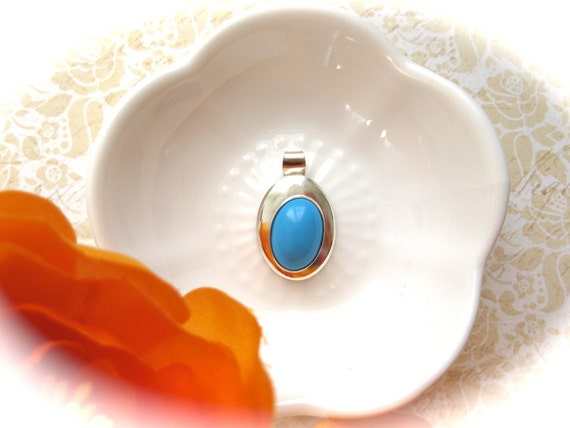 RESERVED-Robbin's Egg Blue-Turquoise and Sterling Silver Oval Pendant/Charm