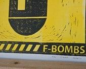 PRINT - Man Cave Caution F Bombs LINOCUT 8 x 11 POSTER