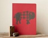 JOURNAL - Bison Red and Black Buffalo Plaid RETRO Sketchbook Jotter LINOCUT Print