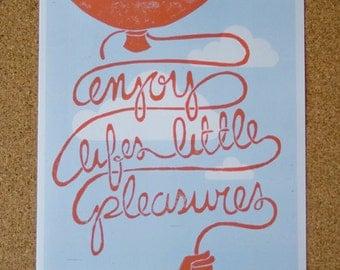 PRINT - Little Pleasures message art balloon wall decoration, NURSERY Art, Children's Room  LINOCUT