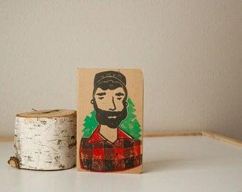 JOURNAL - LUMBERJACK with trees MALE pocket-sized sketchbook Linocut