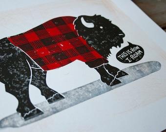 WALL Art This Is How I Roam Bison, Red and Black Buffalo Plaid Bision LINOCUT Print 8.5 x 11, Bathroom Art