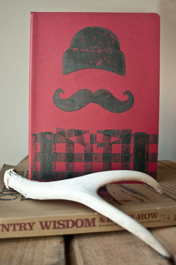 JOURNAL - Manly LUMBERJACK Retro Red and Black Buffalo Plaid Linocut PRINT