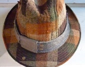 "1920's Fedora Vintage/ Wool Hat-Fedora/ Trilby size: S / ""My Vintage Freaky Fedora""/Brown Plaid/Checkered/Burgundy Golf Hat"
