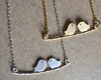 Clearance - Birds on a branch necklace - Bird and branch necklace - Love birds on a branch - Branch and bird necklace