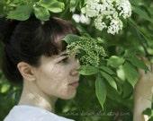Tender green nature woman portrait print - fine art print 8 x 12 - graduation proms birthday loving gift