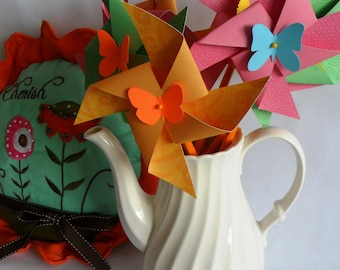 Paper Pinwheels  Easter Favors CLEARANCE Party Decorations Birthday Favors Butterfly Favors Baby Shower Spinning Pinwheels Table Centerpiece