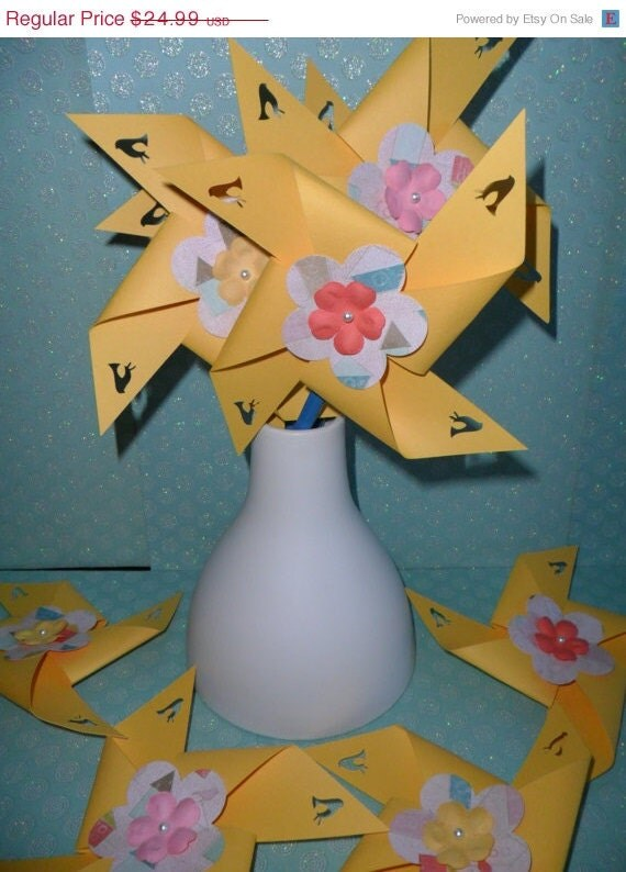 CLEARANCE Pinwheels with little birds in canary yellow for a birthday party baby shower bridal shower wedding or bat mitzvah