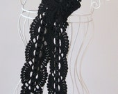 Crochet Long Summer Scarf in Black, Lace design with satin ribbon, skinny, Bamboo cotton