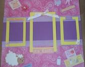 Baby Girl 12x12 premade scrapbook page, Princess, Daughter, Photos, Album