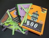 Set of 4 Halloween Cards, Happy Halloween, Boo, Fright Night, Trick-or Treat, Stationery Set, Blank Inside