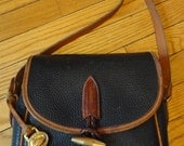 Classic 80s Navy blue and brown leather Dooney and Bourke purse