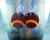 Wood Earrings - Orange Purpleheart Arc