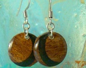 Wood Earrings -Mahogany & Black Crescent