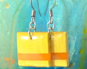 Wood Earrings - Yellowheart & Tangerine Small Square