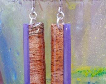 Wood Earrings -Mahogany & Purple Vertical Stripe