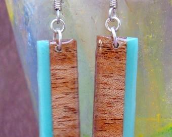 Wood Earrings -Mahogany & Aquamarine Vertical Stripe