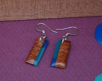 Wood Earrings -Mahogany, Blue and Teal Mini