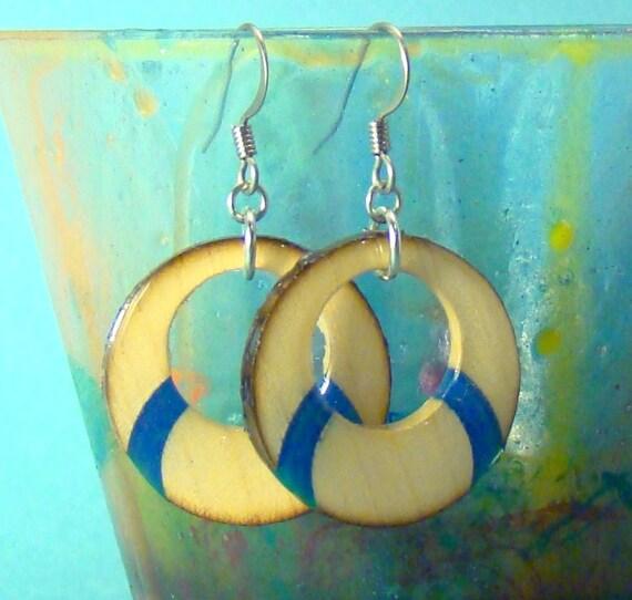 Wood Earrings - Maple & Blue Eclipse