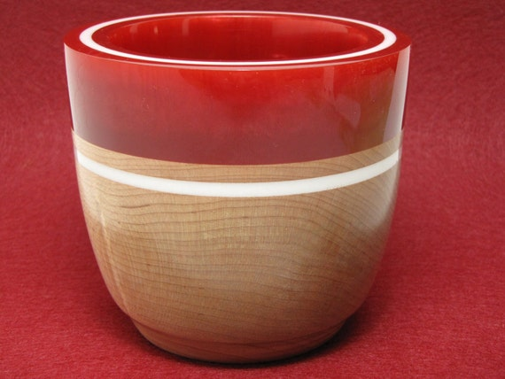 Unique Handmade Wooden Bowl made of Maple Wood with a Dark Red Pearl Resin Rim & White Inlay, Collectible Art, Wedding Gift