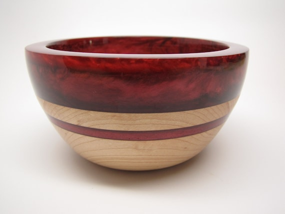 Hard Maple Bowl with a Red Pearl Top & Red Inlay