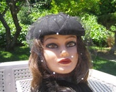 Rockabilly Vintage Black Wool Hat with Veil