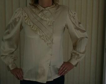 SALE Beige Silk Dressy Blouse