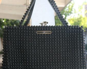 Black Bakelite Plastic Beaded Vintage Handbag Purse