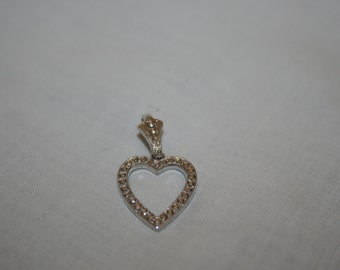 Valentine's Day Gift Heart Shaped Marcasite Necklace Charm in Sterling Silver