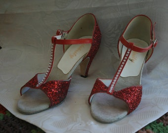 Valentine Red Sparkle Ballroom shoes suede Bottoms competition shoes