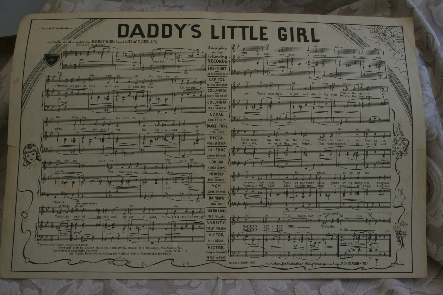 Sheet Music Daddy S Little Girl Father S