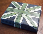 Hand-painted vintage box Union Jack olive green