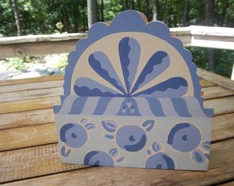 Vintage Handmade Wooden Napkin Holder Periwinkle Blue & White whimsical handpainted design
