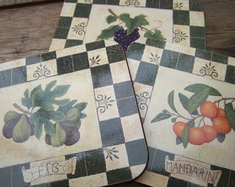Vintage Coasters by Jason of New Zealand dark green with fruit patterns set of six