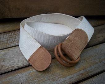 """Vintage Wide Webbing Belt w/ Leather Trim 2"""" wide size LG by Talbot's"""