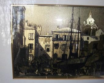 Vintage Framed Foil Etchings by Lionel Barrymore Boat Harbor Scenes set of two