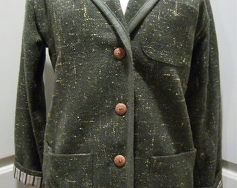 Vintage Olive Green Tweed Womens Blazer by Ann Taylor size 8