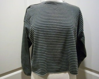 "Vintage Cotton Striped Boxy Crewneck Sweater Womens Med. by ""No Saint"" Green & Black"