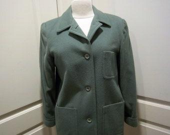 Vintage Jade Green Wool Blazer Womens 6-8 Lands End